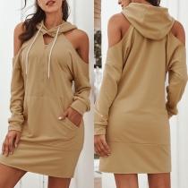 Sexy Off-shoulder Long Sleeve Hooded Solid Color Sweatshirt Dress