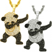 Cute Style Rhinestone Panda Pendant Necklace
