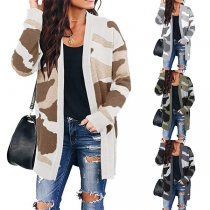 Fashion Camouflage Printed Long Sleeve Knit Cardigan