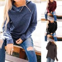 Fashion Solid Color Long Sleeve High-collar Sweatshirt