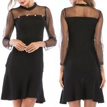 Sexy See-through Gauze Spliced Long Sleeve Ruffle Hem Beaded Dress