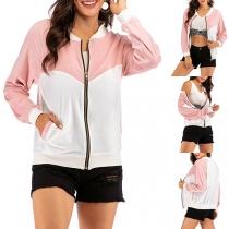 Fashion Contrast Color Long Sleeve Stand Collar Baseball Jacket