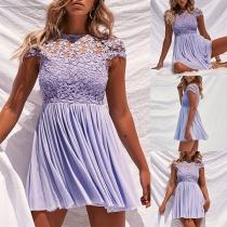 Sexy Lace Spliced Short Sleeve Round Neck High Waist Dress