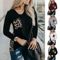 Fashion Leopard Spliced Long Sleeve V-neck T-shirt