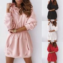 Fashion Solid Color Long Sleeve Hooded Elastic Waist Sweatshirt