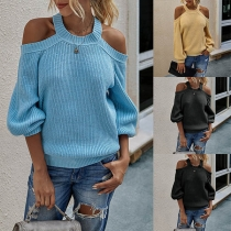 Sexy Off-shoulder Long Sleeve Solid Color Sweater