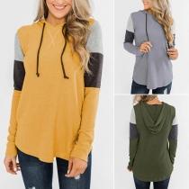 Casual Style Long Sleeve Contrast Color Hooded Sweatshirt