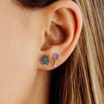 Chic Style Rhinestone Inlaid Leaf Wine Glass Shaped Asymmetric Stud Earrings