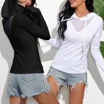 Fashion Solid Color Long Sleeve Hooded Gauze Spliced Sweatshirt