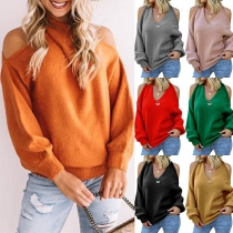 Sexy Off-shoulder Long Sleeve V-neck Solid Color Sweater