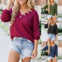 Fashion Solid Color Long Sleeve V-neck Sweatshirt
