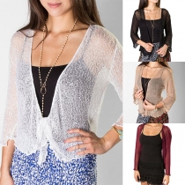 Fashion Solid Color Long Sleeve See-through Knit Cardigan