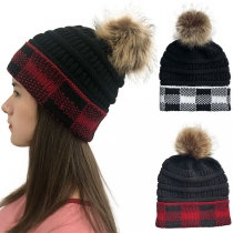 Fashion Hairball Spliced Plaid Knit Beanies