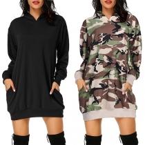 Fashion Long Sleeve Hooded Loose Sweatshirt Dress
