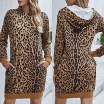 Fashion Leopard Printed Long Sleeve Hooded Sweatshirt Dress