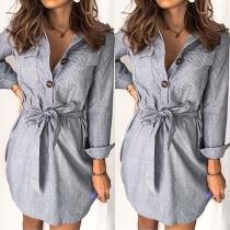 OL Style Long Sleeve POLO Collar Striped Long Shirt