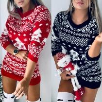 Fashion Round Neck Elk Printed Slim Fit Knit Mini Short Dress Long Sweater
