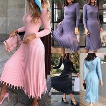 Elegant Solid Color Long Sleeve Round Neck Pleated Hem Knit Midi Dress