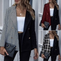 OL Style Plaid Spliced Long Sleeve Double-breasted Blazer Coat
