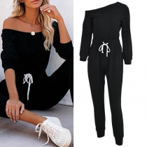 Sexy Oblique Shoulder Long Sleeve High Waist Solid Color Jumpsuit