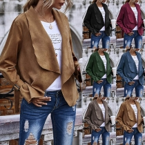 Fashion Solid Color Long Sleeve Lapel Cardigan