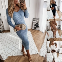 Simple Style Long Sleeve V-neck Solid Color Tight Dress