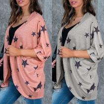 Fashion Half Sleeve Star Printed Cardigan