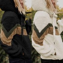 Fashion Contrast Color Long Sleeve Hooded Plush Sweatshirt Coat