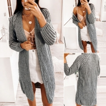 Simple Style Long Sleeve Solid Color Knit Cardigan
