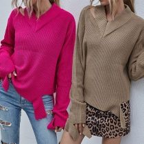 Fashion Solid Color Long Sleeve V-neck Ripped Sweater
