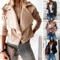 Fashion Solid Color Long Sleeve Lapel Jacket