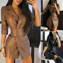 Fashion Solid Color Notched Lapel PU Leather Dress with Girdle