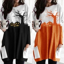 Fashion Long Sleeve Round Neck Loose Printed Dress