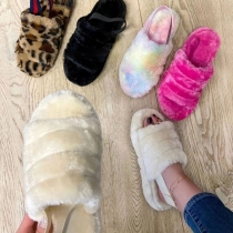 Fashion Solid Color Flat Heel Plush Slippers