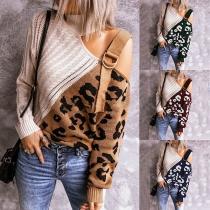 Sexy Off-shoulder Long Sleeve Turtleneck Leopard Spliced Knit Top