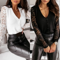 Sexy Lace Spliced Long Sleeve V-neck Solid Color T-shirt