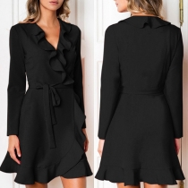 Elegant Solid Color Long Sleeve V-neck Ruffle Dress
