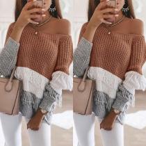 Sexy Off-shoulder Boat Neck Long Sleeve Contrast Color Tassel Sweater