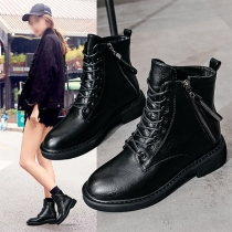 Fashion Flat Heel Round Toe Lace-up Martin Boots