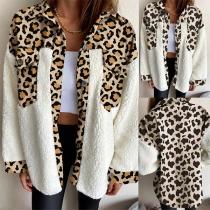 Fashion Leopard Spliced Long Sleeve POLO Collar Plush Cardigan