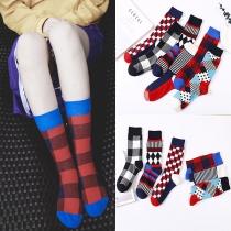 Fashion Contrast Color Printed Socks 2 Pairs/Set