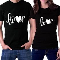 Fashion Short Sleeve Printed Short Sleeve Round Neck Couple T-shirt
