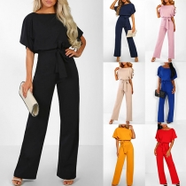 Elegant Solid Color Short Sleeve Round Neck High Waist Jumpsuit