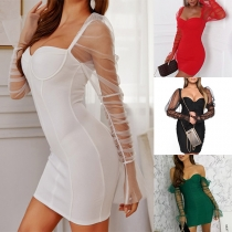 Sexy Off-shoulder See-through Gauze Spliced Long Sleeve Slim Fit Party Dress