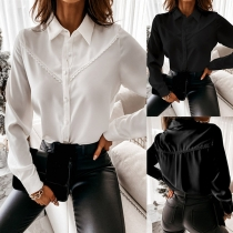 OL Style Long Sleeve POLO Collar Solid Color Shirt