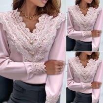 Fashion Lace Spliced V-neck Long Sleeve Solid Color Top