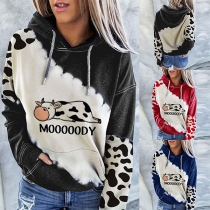 Cute Cow Printed Long Sleeve Hooded Sweatshirt
