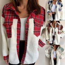 Stand Collar Plush Spliced Shirt Style Plaid Pattern Jacket