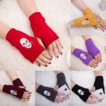Chic Style Skull Head Pattern Knit Half-finger Gloves