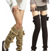 Fashion Solid Color Over-the-knee Knit Leg Warmer